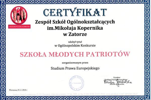"""Certyfikat """"Szkoła Młodych Patriotów"""" dla ZSO wZatorze"""